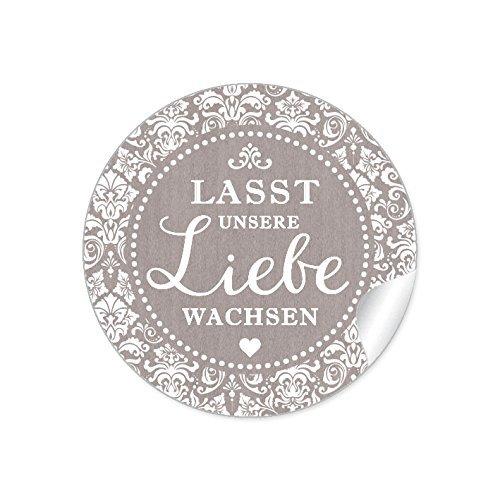 """3er Set 3 Bögen a 24 STICKER: 72 Edle Aufkleber:\""""Lasst unsere Liebe wachsen\"""" Schöne Etiketten im\""""Retro-Vintage-Style\"""" in SAND • Für Gastgeschenke zur Hochzeit (4 cm, rund, matt)"""