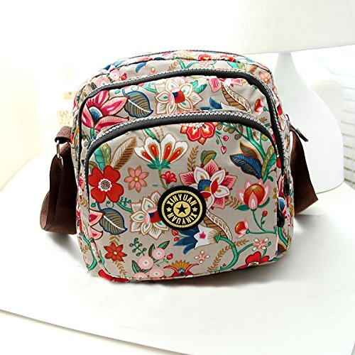 Feoya Borsa Messenger, multicolore (multicolore) - HF02FGH0029 Blumen Pattern Grau