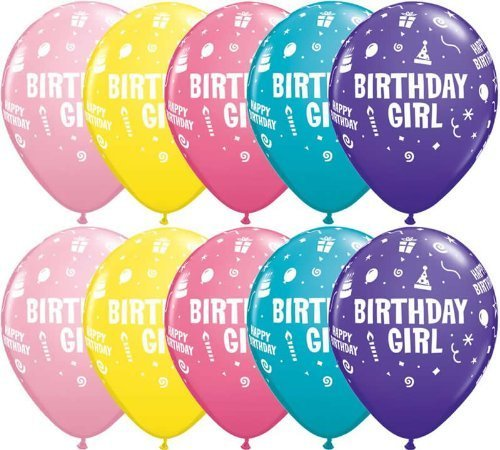 "Preisvergleich Produktbild 5 x Assorted, Birthday Girl, Cake, Candles, Hats & Steamers, Party Balloons - 11"" by Swoosh Supplies"