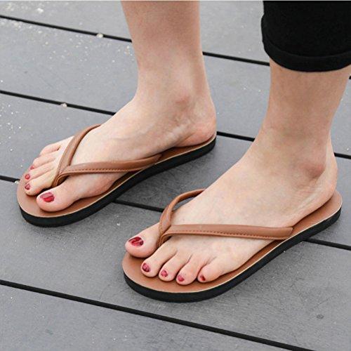 Zhuhaitf Gute Qualität Adults Unisex Casual Non-slip Flip Flop Shoes Summer Flat Slippers Brown