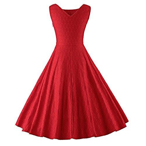 ILover 1950s 60s Femme Vintage Robe Pin-up Dentelle Cocktail Rockabilly Swing Soirée V033-Red