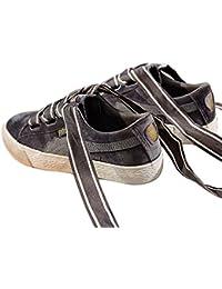 Mr.LQ Zapatos Ocasionales de La Moda del Cordón Ancho Retro de La Lona Para Mujer