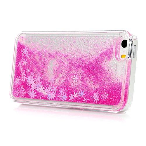 YOKIRIN Hardcase Schutzhülle für iPhone 5/5S/SE Schnee Treibsand Case Cover Hartschale Handyhülle Tasche Skin Schale PC Backplane Handytasche Etui Pink Rose rot
