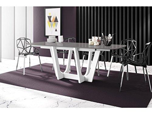H MEUBLE Table A Manger Design Extensible 160÷256 CM X P : 89 CM X H: 75 CM – Gris/Blanc