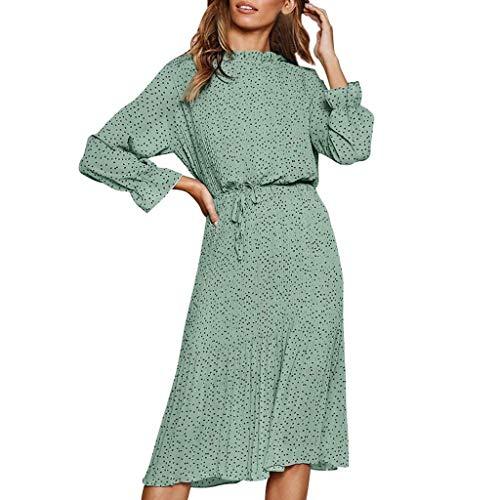LijunMimo Böhmen Kleider Zum Damen O-Ausschnitt Laternenärmel Punkte Drucken Frenulum Chiffon Maxi Kleider Freizeit Sommerkleider (Plus Größe Nähen Kleid Form)