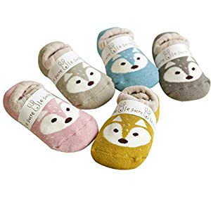 Kids Slipper Socks, FALAIDUO 3 Pairs Baby Fox Christmas Anti-slip floor Sock Random Colour