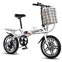 LETFF Adultos Plegables Bicicleta De 16 Pulgadas Una Rueda De Cambio De Disco Freno Choque Masculino