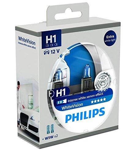 Philips 12258WHVSM WhiteVision Xenon-Effekt H1 Scheinwerferlampe, Doppelset Philips White Vision
