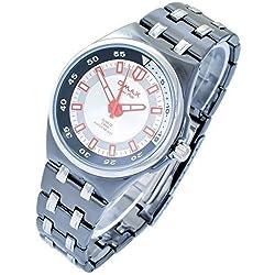 Omax Men's Quartz Watch Silver White Black Analogue Metal Wristwatch