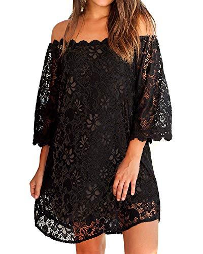 3/4-kleid (ZANZEA Damen Schulterfrei Kleid mit Spitze 3/4 Arm Transparent Abend Party Oberteil Mini Kleider Schwarz EU 48/Etikettgröße 2XL)