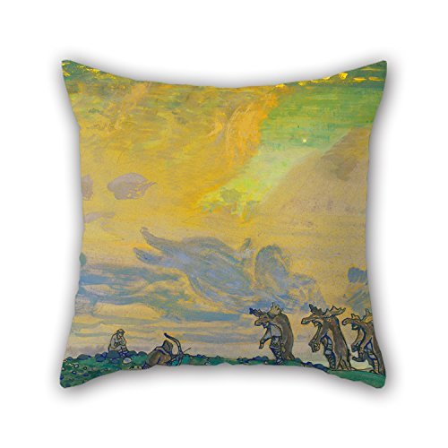 Uloveme 18 X 18 Inches / 45 By 45 Cm Oil Painting N. Roerich - The Great Sacrifice. Setting For I.F.Stravinsky's Ballet «Sacred Spring» Throw Pillow case/Fundas para almohada,2 Sides Is Fit For Indoor,bf,father,sho