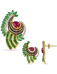 Emeralds Bazar 925 Sterling Silver Marquise Shape Emerald Pear Ruby Drop Pendant Set & Dangle Earrings Precious...