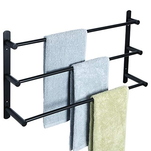 SAYAYO Handtuchhalter für Badezimmer, Küche, Wandmontage, SUS-304 Edelstahl, matt, Schwarz, EGY3000-B -