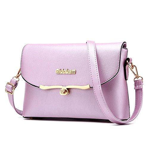 HQYSS Borse donna Coreana PU cuoio croce corpo quadrato piccolo pacchetto donne borse tracolla Messenger , black purple taro