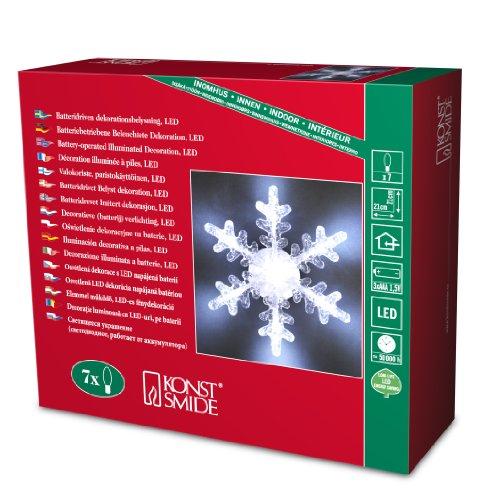 """Konstsmide 4438-203 LED Dekofigur """"Schneeflocke"""" / für Innen (IP20) /  Batteriebetrieben: 3xAAA 1.5V (exkl.) / 7 kalt weiße Diode"""
