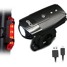 EASTWILD USB Luces De Bicicleta Recargables Delanteras Y Traseras LED, Faro De Bicicleta Super Brillante 2000ma / 900 Lúmenes, Luz Trasera Recargable Gratuita Y Soporte Para Casco Incluido