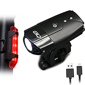 EASTWILD USB Ricaricabile Bike Light Set, LED Luci Anteriori e Posteriori, 2000 mA / 900 Lumen Faro Bicicletta Super…
