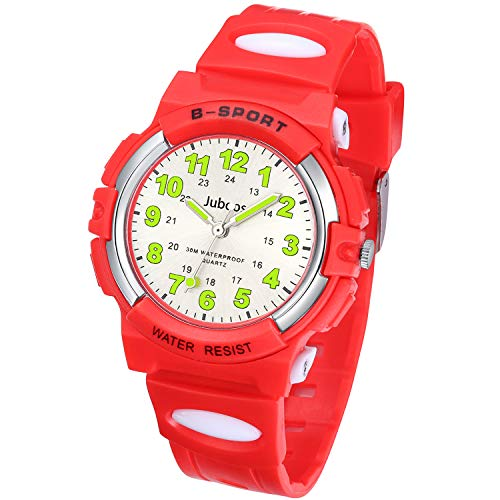 Juboos Kinderuhr Jungen Mädchen Analog Quartz Uhr mit Armbanduhr Gummi Wasserdicht Outdoor Sports Uhren-JU-001 (Rot)