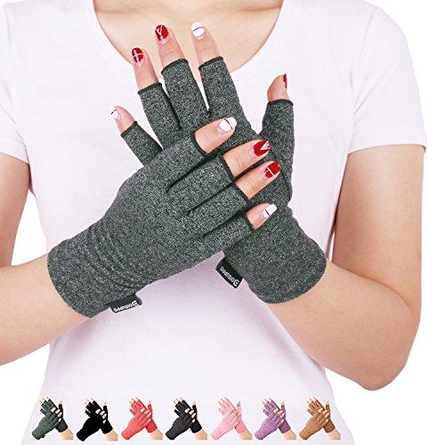 DISUPPO Anti-Arthritis Handschuhe (Paar) - rheumatische Arthritis Kompressionshandschuhe für Schmerzlinderung, Gaming Tippen, fingerlose Handschuhe für Männer und Frauen (Handschuhe Fingerlose Rosa)