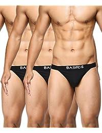 BASIICS by La Intimo Men's Black, Black, Black Prime Thong (Pack of 3)