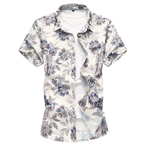 WanYangg Herren Hawaiihemd Hemd Kurzarm Button Down Strandhemd Urlaub Aloha Shirt Kurzarm Freizeit Bunte Hemden Drucken Hemd Blumen Sommer Funky Hawaii-Print Casual Surf ShirtsBlau 3XL (Surf-hawaii-aloha-shirt)