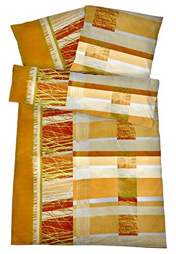 Carpe Sonno Bügelfreie Seersucker Bettwäsche 135 x 200 cm - Leichte Baumwoll Bettbezüge mit schönem Muster für den Sommer - Modern gemusterte Bettwaren-Garnitur - Orange