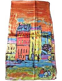 Nella-Mode SEIDENSCHAL Seidentuch Kunstdruck nach W. Kandinsky CASE a MONACO reine Seide; 160x43