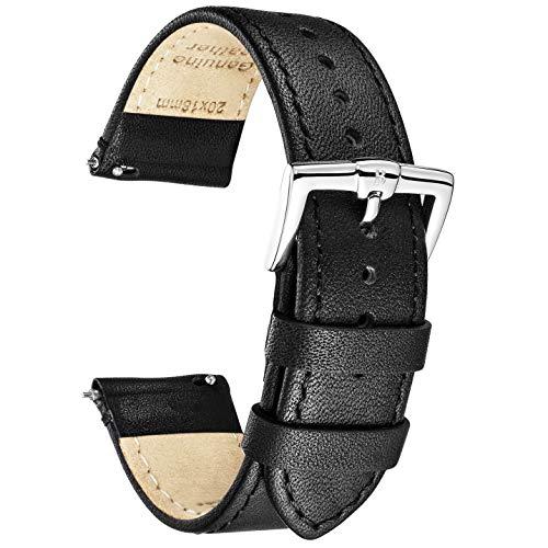 B&E Schnellverschluß Uhrenarmbänder Lite Vintage Leder Armband Ersatband für Herren Damen - Watch Bands Strap für traditionelle & intelligente Uhren - Breite 16mm 18mm 20mm 22mm 24mm Erhältlich (Uhr 24mm Leder Band)