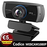 Webcam Full HD 1080P/1536P Widescreen, Telecamera PC per Videochiamata e Registrazione, Web Camera con Microfono Stereo, Streaming Webcam per PC/Mac/Desktop Supporta Skype,YouTube,Laptop,Xbox One