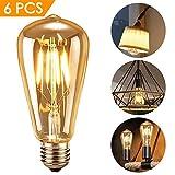 Edison LED Glühbirne, innislink Edison LED Lampe E27 Retro Glühbirne Vintage Antike Glühlampe Filament Fadenlampe Nostalgie Glühbirne für Haus Café Bar dekorative Beleuchtung Warmweiß -6 Stück