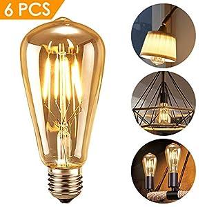 innislink Edison Vintage Lampadina, LED Edison Lampada E27 Filamento Lampadina Tungsteno Decorative Bulb Antico Industriale Nostalgia Retro Illuminazione Ambra Lampadine Luce Bianco Caldo - 6 Pezzi