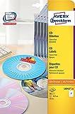Avery Zweckform L6043-25 CD-Etiketten (A4, 50 Stück, Ø 117 mm) 25 Blatt weiß