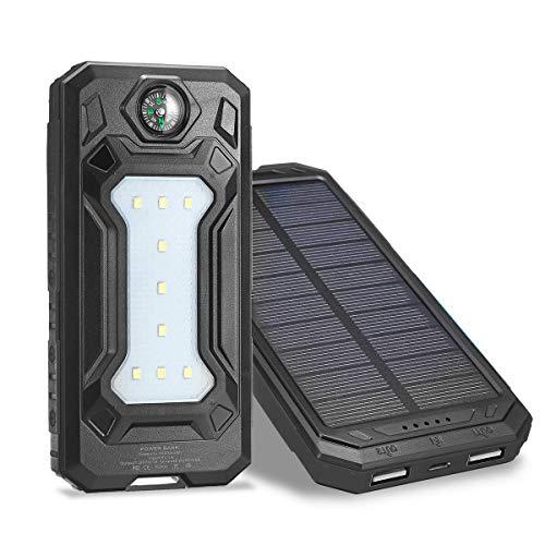 ChaRLes 12000Mah Solar Power Bank Batterie Schnellladegerät Dual Usb Sos Led Licht Kompass - Schwarz -
