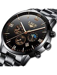 Relojes para Hombre Cronógrafo de Acero Inoxidable Hombres Calendario de Fecha Impermeable Reloj Analógico Deportes Comerciales
