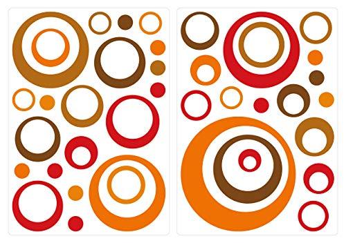 dekodino® Wandtattoo Retro Kreise orange rot braun 40 Stück Wohnzimmer Deko