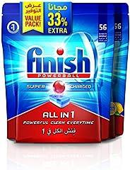 Finish Dishwasher Detergent Tablets, All in One Regular & Lemon, 56+56 (112 tabl