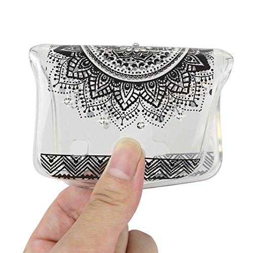 K10 2016 Schutzhülle, Rosa Schleife LG K10 2016 Crystal Case Handyhülle Ultra Dünn TPU Silikon Backcover Durchsichtig Gel Case Diamond Bling Schutzhülle klar für LG K10 2016 mit Mandala Muster Design  a - Schwarz Mandala