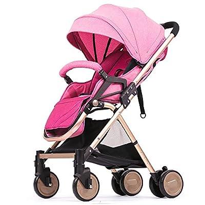 QFFL Carretilla ultraligera para bebé / Paisaje alto absorbente de impactos / Puede sentarse Puede mentir / Portátil plegable Coche de niño