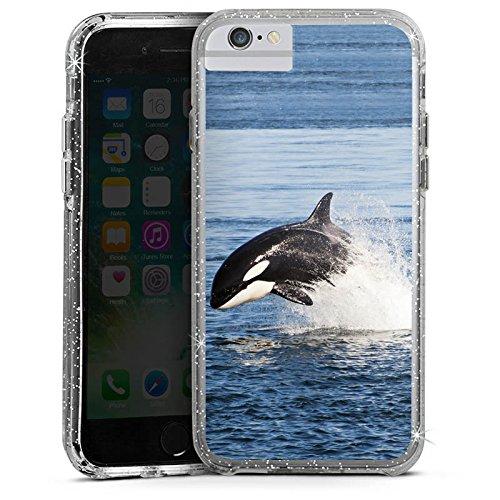 Apple iPhone 6s Plus Bumper Hülle Bumper Case Glitzer Hülle Schwertwal Orca Wal Bumper Case Glitzer silber