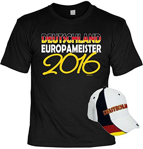 Deutschland Fussball Fanshirt T-Shirt zur EM 2016 für Männer und Frauen inkl. Kappe Deutschland Europameister 2016