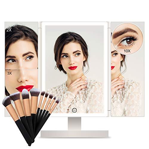FASCINATE Espejo Maquillaje con Luz Espejo con Sets Brochas Maquillaje Tríptica 3X, 2X,1x Aumentos...
