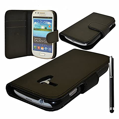 VCOMP® Housse Coque Etui portefeuille cuir PU pour Samsung Galaxy S3 mini i8190/ i8200 VE + stylet - NOIR