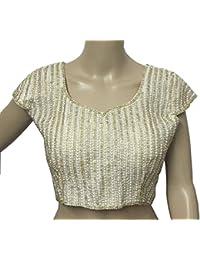 Navanya Couture Women'S Kora Silk Saree Blouse (Moti-Blouse_Cream_Free Size)