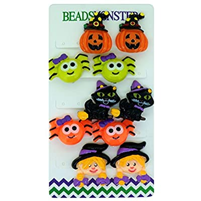 Halloween Costumes Party Cute Pumpkins Spiders Cat Witch Clip On Earrings Gift For Kids Girls Womens