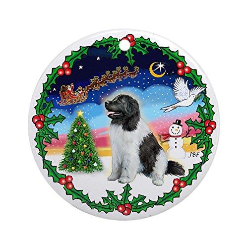 CafePress Landseer Newfie Holly Kranz Ornament (rund)–Rund Urlaub Weihnachten Ornament