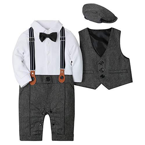 CARETOO Baby Jungen Bekleidungssets 3tlg Strampler + Weste + Hut Fliege Krawatte Gentleman Set Baby Taufe Anzug