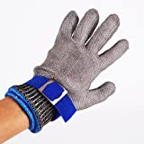 Safety Cut Proof Stab Resistant Stainless Steel Metal Mesh Butcher Blue Glove Size L High Performance Level 5 Protection