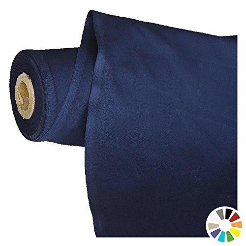 Stoff (TOLKO Baumwollstoff Meterware - OEKO-TEX® Baumwoll-Qualität, Leichter Klassiker zum Nähen und Dekorieren (Marine-Blau))