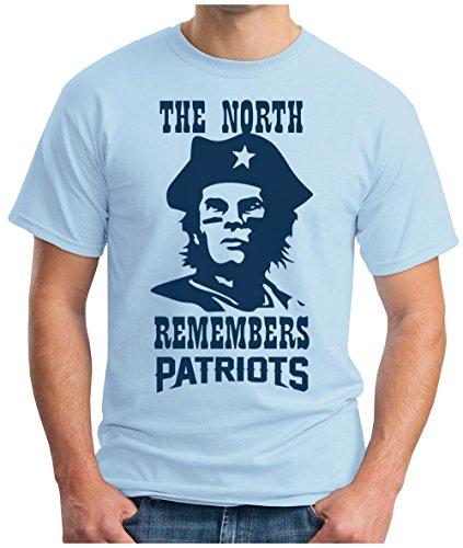 OM3 North Remembers Patriots - T-Shirt | Herren | American Football Shirt | Super Bowl 52 LII | NFL | S - 5XL Hellblau