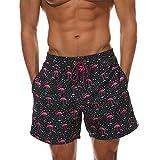 Belloo Herren Swim Badeshorts Beach Shorts Badehose mit Taschen,Flamingo,XXL